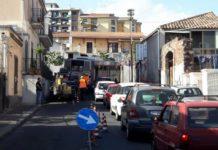 lavori fibre ottiche Catania traffico caos 20-04-17